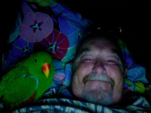 Phil & Jacko snugged up in bed ready for the next episode of The Life of Birds.
